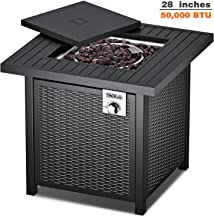 TACKLIFE Gas Fire Table, Auto-Ignition Outdoor Propane Gas Fire Pit Table with Cover, 28 inch 50,000 BTU