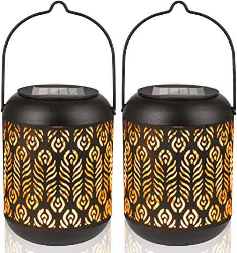 LeiDrail Solar Lantern Lights Outdoor Tabletop Yard Décor for Party Table Pathway Garden Yard Sun Powered LED Hanging...