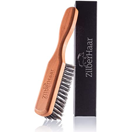 Beard Brush by ZilberHaar - Stiff Boar Bristles - Beard Grooming Brush for Men - Straightens and Promotes beard growth - Works with Beard Oil and Balm to Soften Beard – For beard kits - 6 inches long