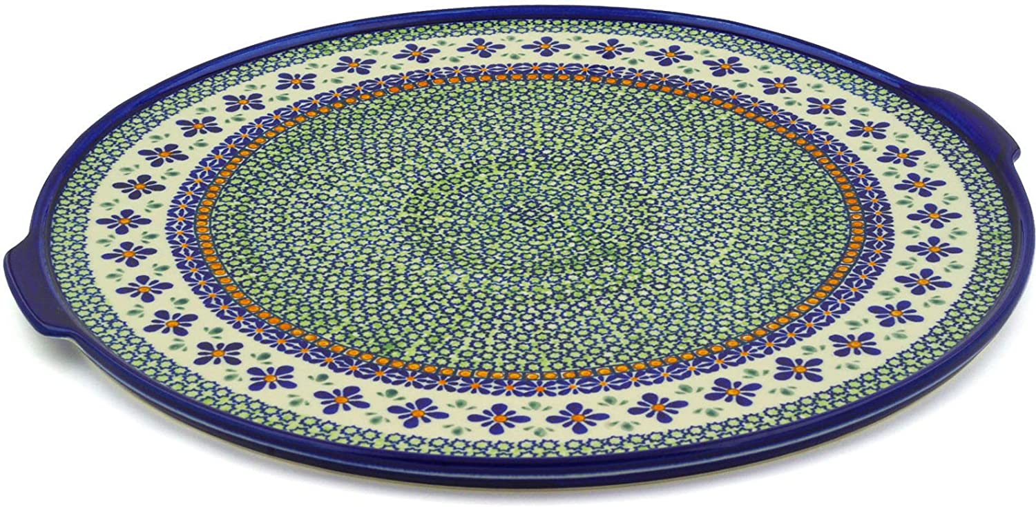 Polish Pottery Pizza 2021 spring and summer new Special Campaign Plate Flowers 17-inch Gingham