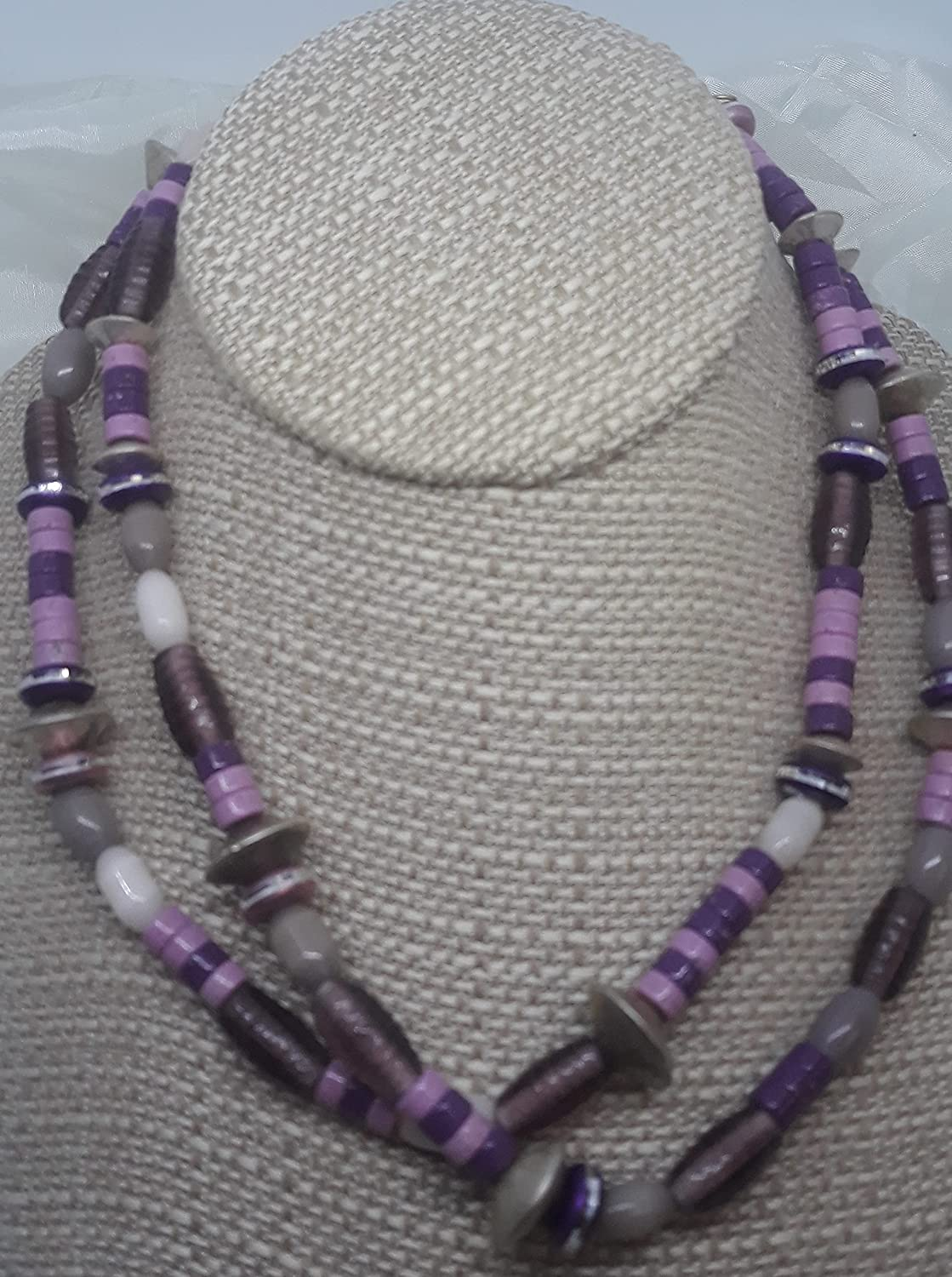 Stretchy 44 inches supreme Pink Purple and 2021 new double w necklace or Mauve