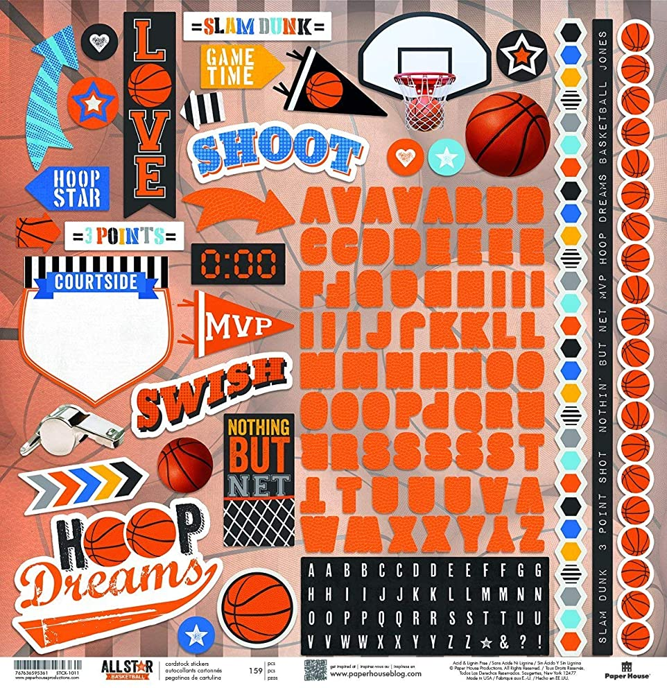 Paper House Productions STCX-1011E Basketball Cardstock Stickers 12-Inch