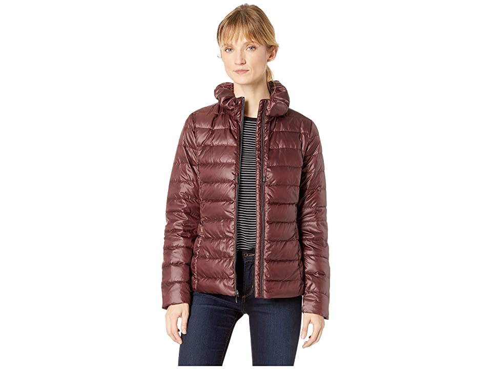 Via Spiga Packable Soft Puffer with Ruffle Detailed Stand Collar (Wine) Women