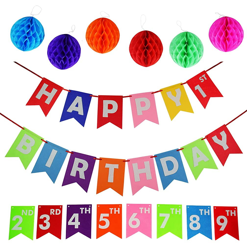 Happy Birthday Decoration Banners Supplies up to 9 years of Birthday Celebration with Set of 6 Tissue Pom Pom Balls of Felt Materials