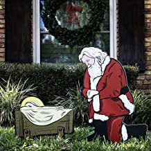 Teak Isle Kneeling Santa Outdoor Nativity Set   Weatherproof Santa Nativity Scene for Yards