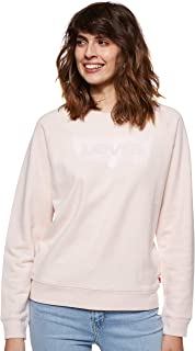 Levi's Womens Relaxed Graphic Crewneck Sweatshirt Sweatshirt, Color: Crew Bw Peach Blush, Size: XS
