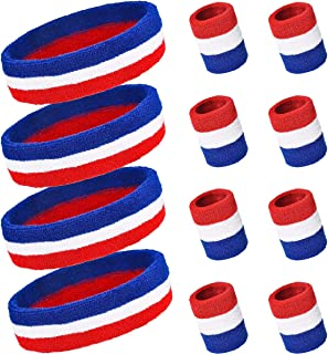 PAMASE Striped Sweatbands Set, Including Sports Headbands and Wristbands Cotton Sweat Band American Flag Style for Tennis Athletic Men Women