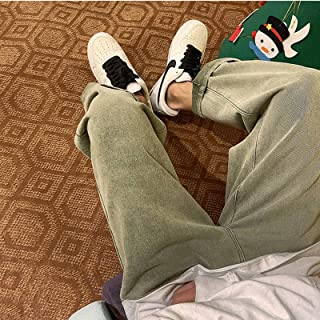Men's Solid Color Straight Harem Jeans White/Black Korean Man Loose Denim Trousers Streetwear Male Casual Pants6 Colors