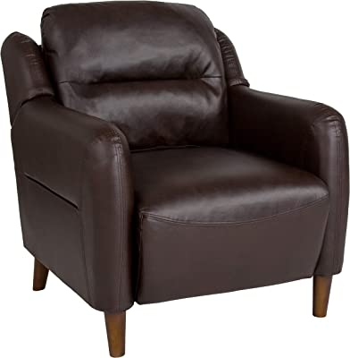 Flash Furniture Newton Hill Upholstered Bustle Back Arm Chair in Brown LeatherSoft