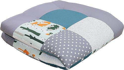 ULLENBOOM ® Tapis d'Éveil et Matelas pour Parc Bébé forêt pétrole bleu (100x100 cm Tapis sol bébé patchwork, Motifs p...