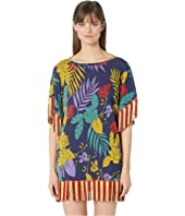 FUZZI - Leaf Print Mini Fringe Dress