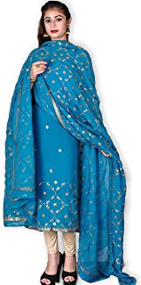 Kasturi-B Women's Turquoise Pure Crepe Georgette Gota-Patti 3 Pc Suit
