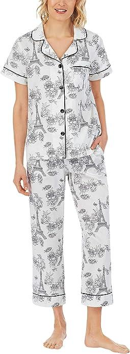 Short Sleeve Cropped PJ Set (Woven Sateen)