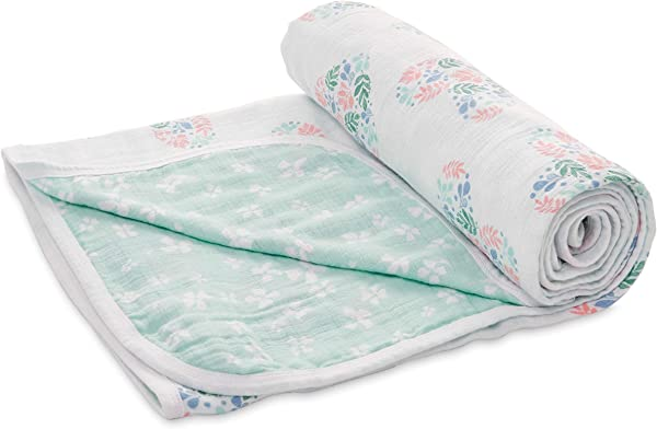 Aden By Aden Anais Stroller Blanket 100 Cotton Muslin 2 Layer Lightweight And Breathable Large 44 X 44 Inch Briar Rose Floral Heart