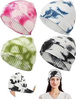 SATINIOR 4 Pieces Tie Dye Beanie Cuffed Hat Winter Tie Dye Knitted Cuffed Hat Acrylic Snow Caps Stretch Warm Winter Hat Sl...
