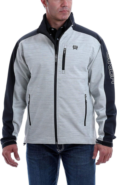 Cinch Men's Grey Color Blocked Textured Logo Bonded Jacket