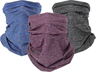 NMEPLAD 3Pcs Cooling Neck Gaiter with Filter (40PCS),UPF 50 Face Cover,bandana,Mask,Scarf for Men & Women& Kids,Windproof ...