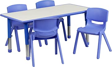 Flash Furniture 23.625''W x 47.25''L Rectangular Blue Plastic Height Adjustable Activity Table Set with 4 Chairs