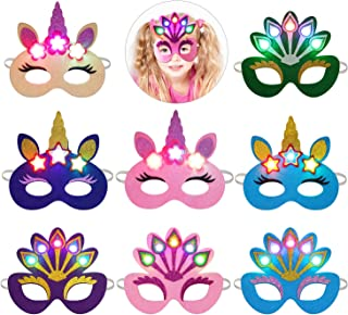 LED Unicorn Party Mask, Fascigirl 8pcs Light-up Felt Cartoon Mask Unicorn Peacock Eye Mask for Kids Party Favors Costume Halloween Christmas Party Supplies for Adults Kids