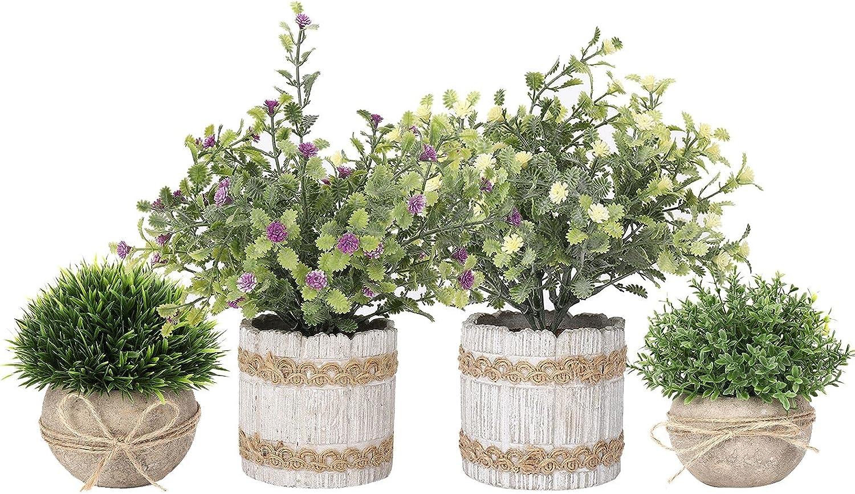 Artificial Max 40% OFF New sales Topiaries Plants Flowers Artific Mini 4 Pcs