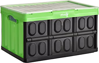 Muscle Rack FPSCWL-Green Folding Plastic Storage Crate with Lid Green, 11.8