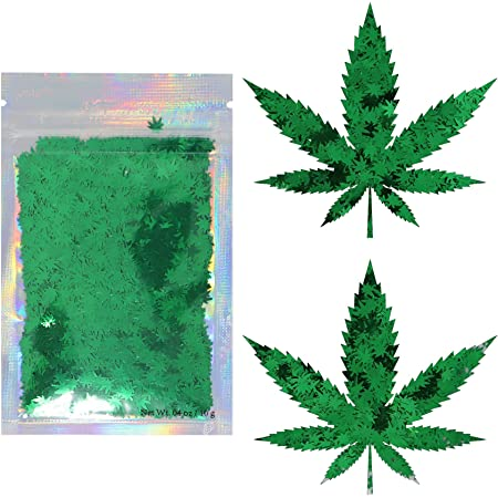 Green Leaf - Cosmetic Grade Chunky Glitter - Festival Rave Makeup Face Body Nails Resin Arts & Crafts - Solvent Resistant - Weed, Pot
