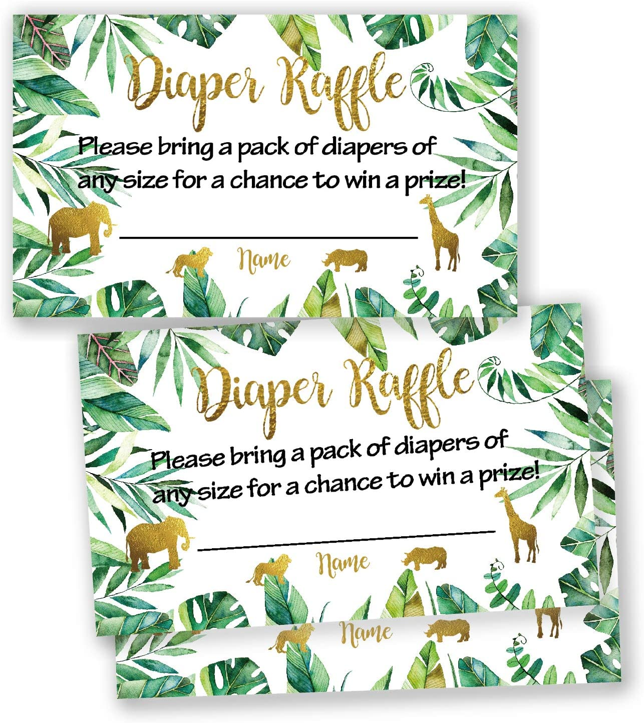 50 Jungle Animals Baby Shower Diaper Raffle Tickets, Lottery Insert Cards for Neutral Gender Reveal Party, Bring a Pack of Diapers to Win Favors.