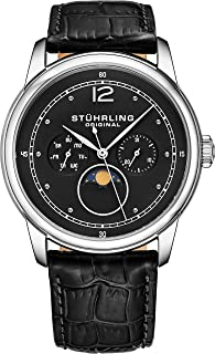 Stuhrling Original Mens MoonPhase Dress Watch - Stainless Steel Case and Leather Band - Analog Dial