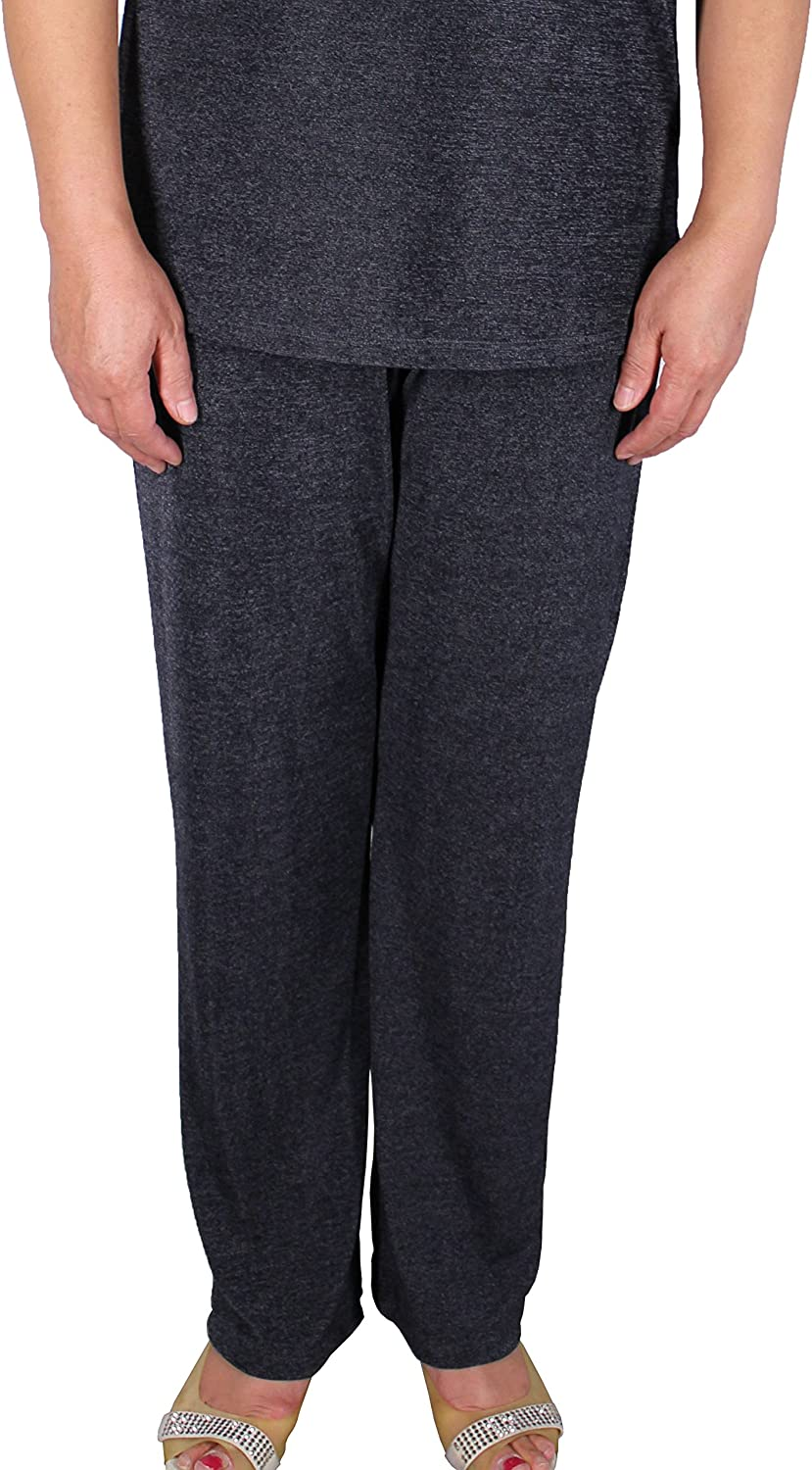 Calison Women's Elastic High Waist Pull On Long Pants Made in USA Grey 2X
