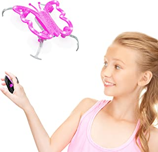 Force1 Monarch Butterfly Drone for Kids - Hand Controlled Mini Indoor Drone, LED Flying Toy w/Palm Sensor Remote Control (Pink)