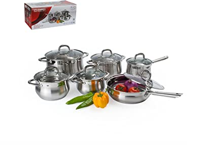 Aramco 12 Piece Alpine Gourmet Belly Shape Cookware Set, Stainless Steel