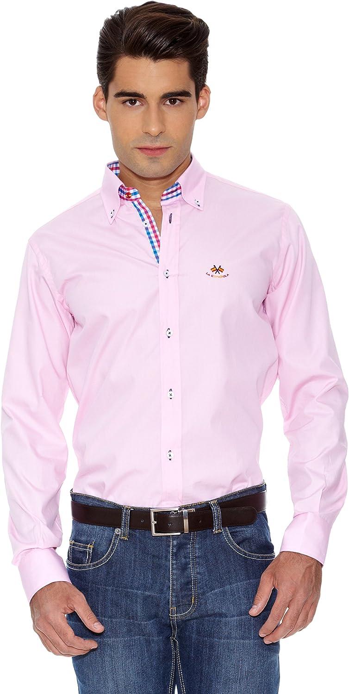 La Española Camisa Hombre Fitted Rosa L: Amazon.es: Ropa
