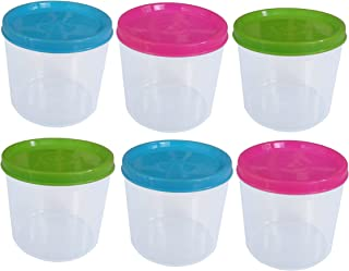 Tantos Small Lunch Box Plastic Food Containers with Lids, 6 ounces - Meal Prep Portion Control Snacks Slime Protein Sauce - Stackable Freezer Safe