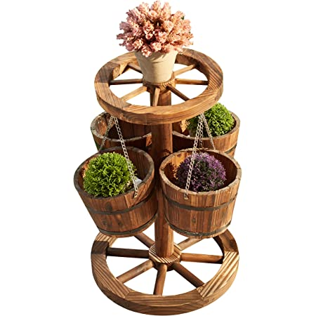 LOKATSE HOME Rustic Patio Wooden Wagon Barrel Wheel Planter Flower Pots with Buckets, Wood