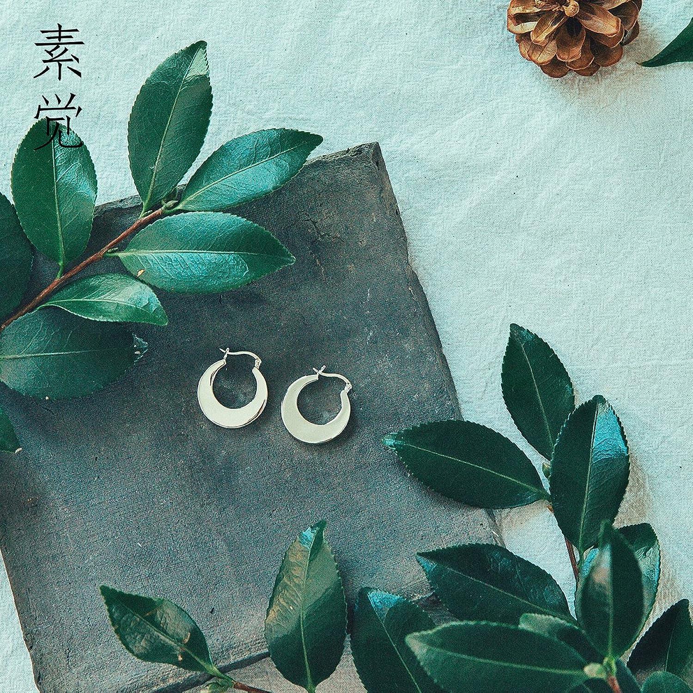 BAGEHAN 925 Silber Ohrringe handgefertigt Frosted halben Ohr Schmuck Ohrringe Schmuck Temperament Half Moon Ohrring