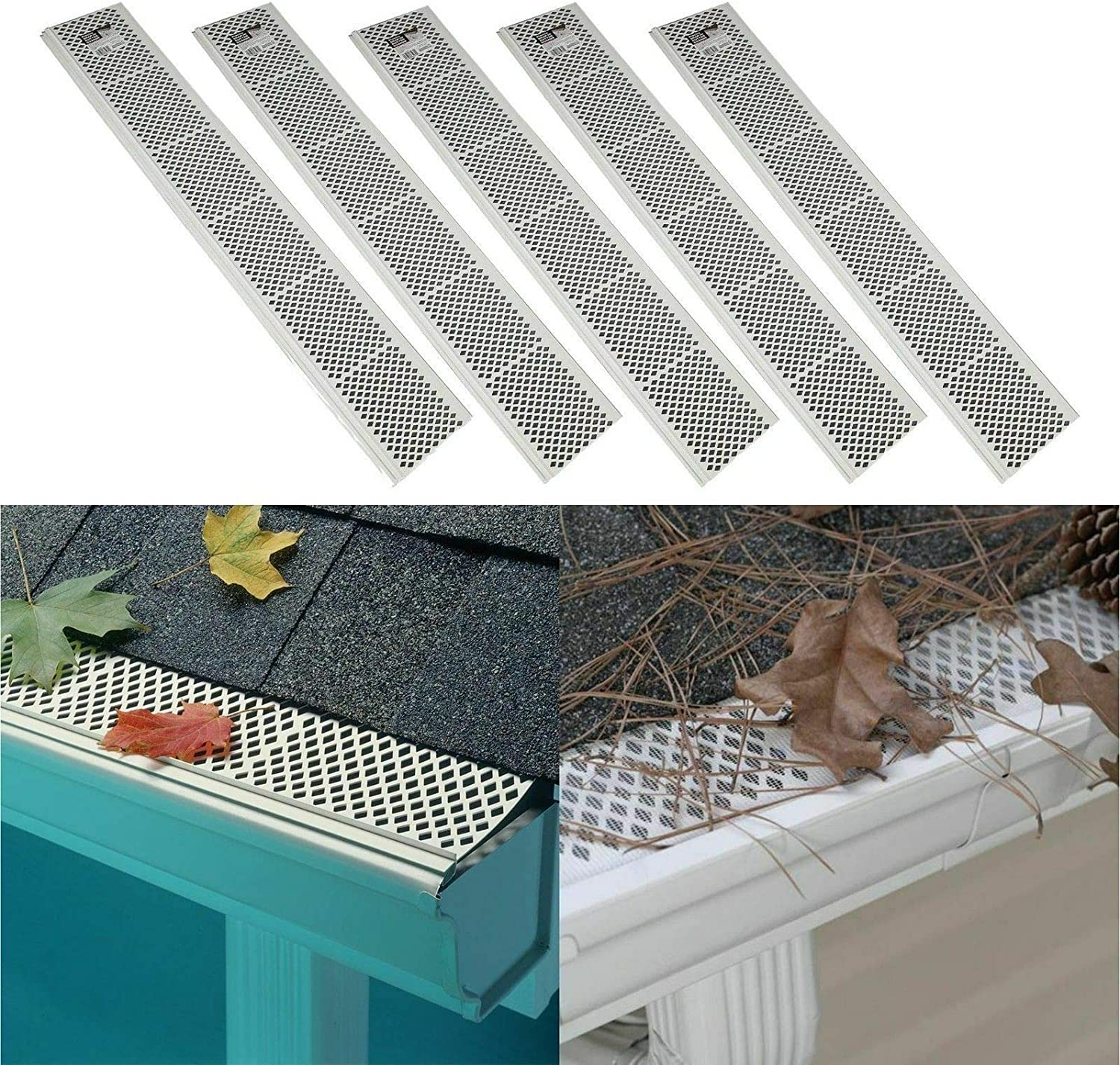 5 Pack SNAP-in White Gutter Sale SALE% OFF Guard 3ft Cover Long Beach Mall Leaf D Filter Screen