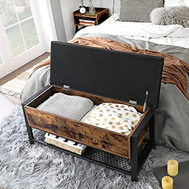 VASAGLE Industrial Storage Bench, Shoe Bench, Bed End Stool with Padded Seat and Metal Shelf, Storage Chest, Sturdy Steel Fra