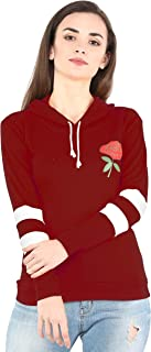 Shocknshop Rose Design Striped Full Sleeve Hoodie Sweatshirt Top for Womens and Girls (WHOD02)