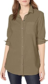 Goodthreads Amazon Brand Women's Lightweight Poplin Long-Sleeve Oversized Boyfriend Shirt, Army Green, Medium