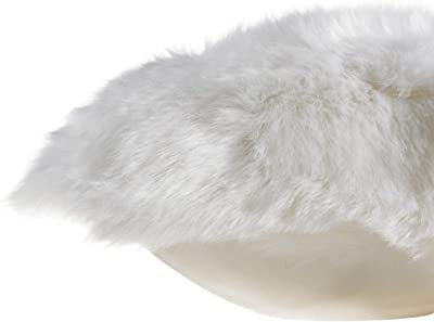 Chesserfeld Decorative Faux Fur Throw Pillow, White, 18in x18in, Stylish Couch, Bedroom, or Dorm Accent, Adds Elegance to Your Décor, Soft Sheepskin Feel, Removable, Machine Washable Cover