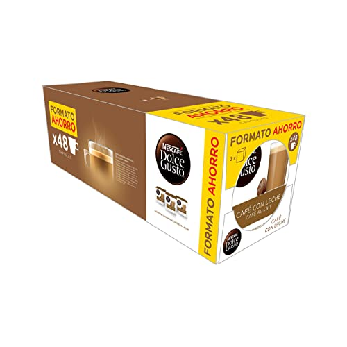 NESCAFÉ Dolce Gusto Café con Leche, Pack de 3 x 16 Cápsulas - Total:
