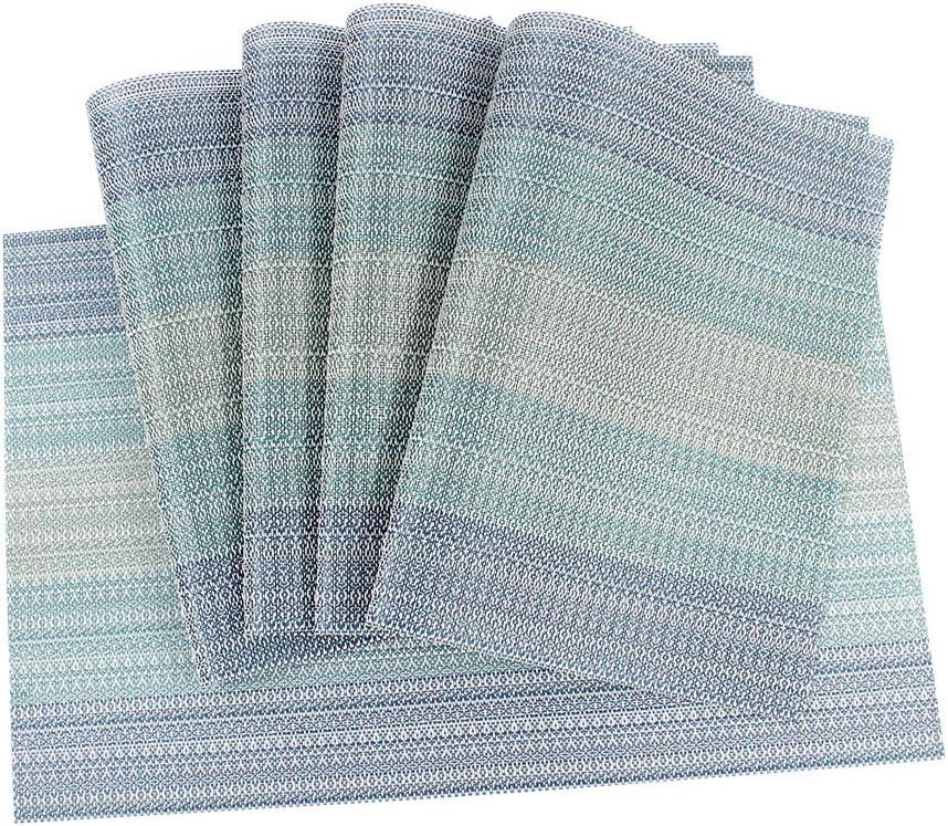 Ranvi manteles individuales resistentes al calor antimanchas resistentes a las manchas esteras de tabla de pvc tejidas manteles de vinilo color azul estilo degradado juego de 5