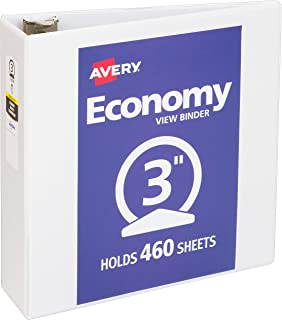 """Avery 3"""" Economy View 3 Ring Binder, Round Ring, Holds 8.5"""" x 11"""" Paper, 1.."""