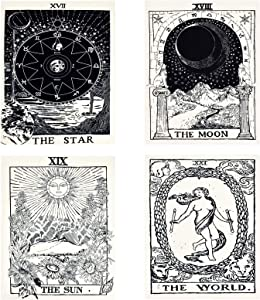 4 Pcs Tarot Flag Tapestry- Small Tarot Card Europe Mysterious Medieval Tapestry, The World, The Sun, The Moon, The Star Astrology Divination Tapestry for Home Room with Seamless Nails (White & Black)