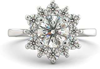 2.01 ct Charles & Colvard Forever One Round Cut Moissanite & Natural Diamond Flower Halo Unique Engagement Ring Solid 14k White Rose Yellow Gold