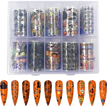 10 Rolls Halloween Nail Foil Transfer Sticker, Sportsvoutdoors Pumpkin Spider Skull Ghost Witch Nail Decals for Halloween Festival Party Wraps Transfer Adhesive Glitters DIY Acrylic Nails
