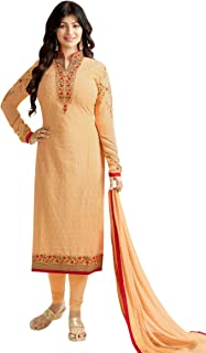 Women's Peach Georgette Semi Stitched Suit Mirchi Fashion Salwar Kameez