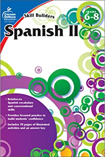 Carson Dellosa – Skill Builders Spanish II Workbook, for Grades 6–8, 80 Pages With Answer Key