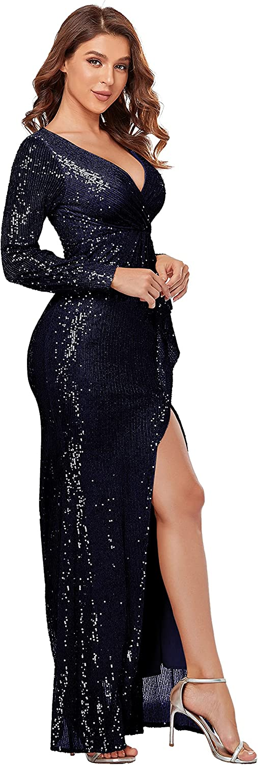 Women's Prom Dresses 2021 Sequined Mermaid Evening Dress with Long Sleeve Ball Gown V Neck Party Dresses