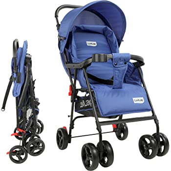 LuvLap Delight Stroller/Pram, with Suspension, for New Born Baby/Kids, 0-3 Years (Blue)